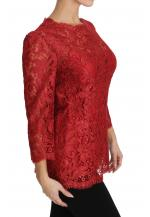 Red 3/4 Sleeve Cordonetto Lace Top
