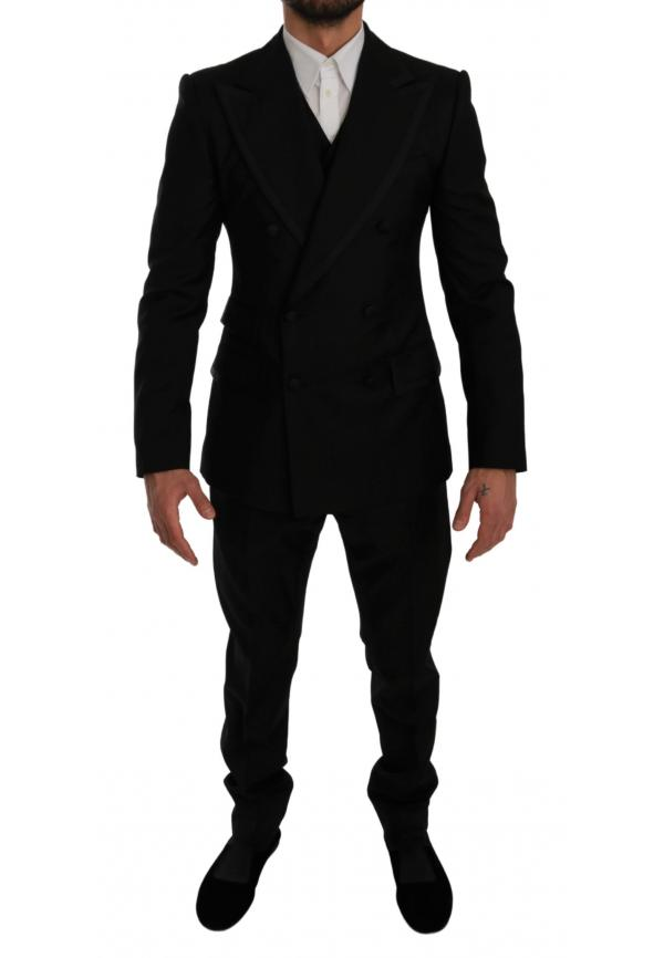Black Double Breasted 3 Piece Wool Suit