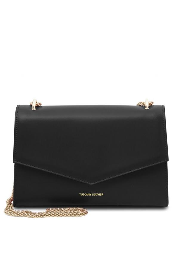 Fortuna - Leather Clutch With Chain Strap  Black
