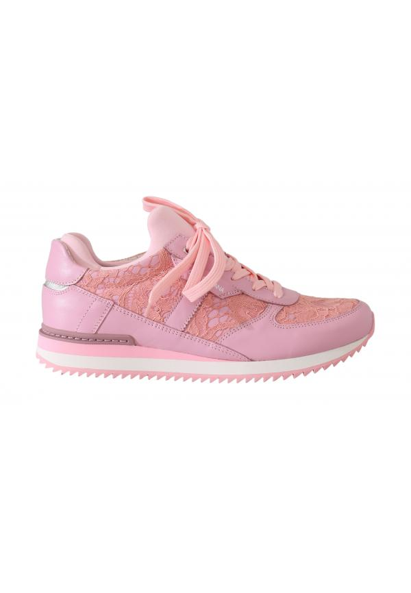 Dolce & Gabbana Pink Floral Lace Leather Sneakers