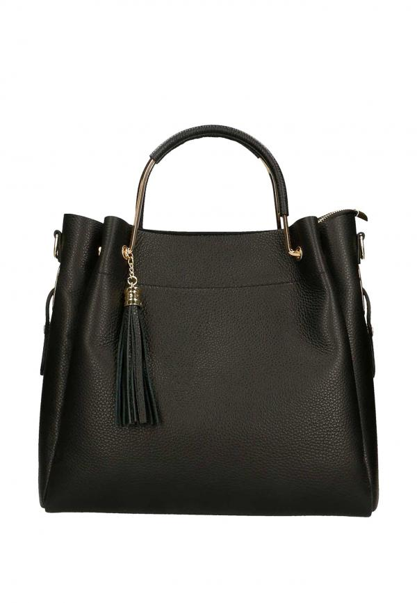 The Italian Factory Leather Totes & Shoppers Black